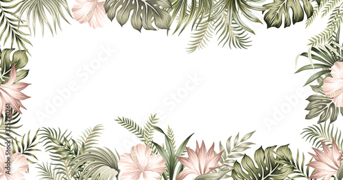 Obraz Tropical summer hibiscus, strelitzia flower, palm leaves, vintage floral frame. Exotic illustration. - fototapety do salonu