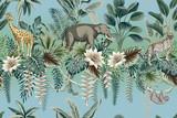 Tropikalny krajobraz botaniczny vintage, kwiat lotosu, palmy, roślin, liści palmowych, lenistwo, lampart, słoń, żyrafa kwiatowy wzór bezszwowe tło gradientowe. Tapeta dżungli z dzikimi zwierzętami. - 325220443