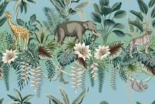 Tropical Vintage Botanical Landscape, Lotus Flower, Palm Tree, Plant, Palm Leaves, Sloth, Leopard, Elephant, Giraffe Floral Seamless Pattern Gradient Background. Jungle Wild Animal Wallpaper.