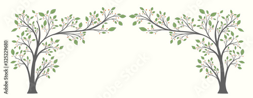 Two flowering trees with leaves and berries in the form of an arch on a light ba Wallpaper Mural