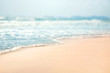 canvas print picture - Close-up soft wave of the sea on the sandy beach