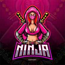 Female Ninja Mascot Logo For Electronic Sport Gaming Logo