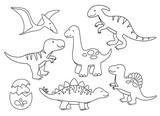 Fototapeta Dino - Vector illustration of black and white dinosaur outline drawing set.