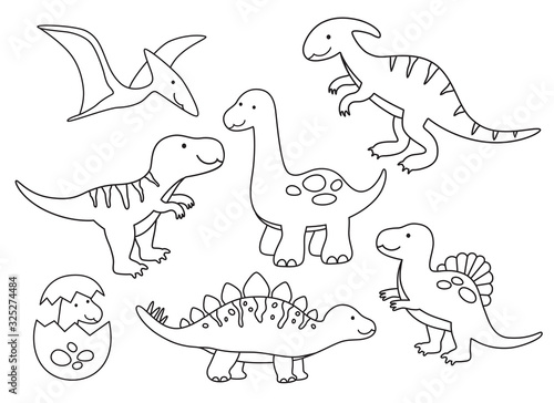 Vector illustration of black and white dinosaur outline drawing set Wallpaper Mural