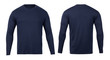 canvas print picture - Navy long sleeve t-shirt front and back view mock-up isolated on white background with clipping path.