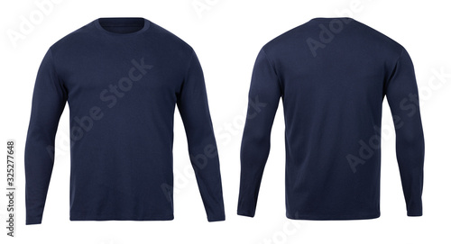 Obraz Navy long sleeve t-shirt front and back view mock-up isolated on white background with clipping path. - fototapety do salonu