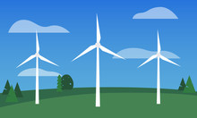 Flat Vector Of Three Wind Turbines Sitting On A Field Of Green Grass With Trees In The Background Against A Blue Sky With Clouds.
