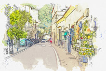 Watercolor Drawing  Small Town...