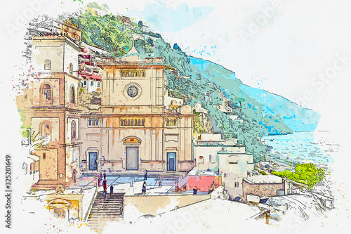 Watercolor drawing  small town of Amalfi famous landmark of Italy, Sorrento, Italy.