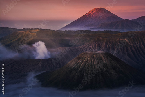 Beautiful landscape of Mount Bromo during sunrise in Bromo Tengger Semeru Nation Canvas Print