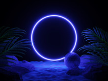 Futuristic Background Night Beach With Tropical Leaves And Neon Circle Light. Cyberpunk Poster. Night Party Banner. Party Invitation. Promotion Template. 3d Illustration. 3d Render.
