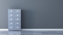 File Cabinet On The Gray Wall ...