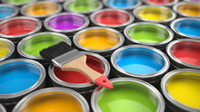 Brush And Paint Cans Color Pal...