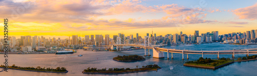 Photo Panoramic Aerial view of Tokyo skylines with Rainbow bridge and tokyo tower over Tokyo bay in daytime from Odaiba in Tokyo city Kanto Japan