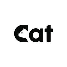 Cat Kitten Head Logo On Letter C Icon Simple Logotype Design Illustration