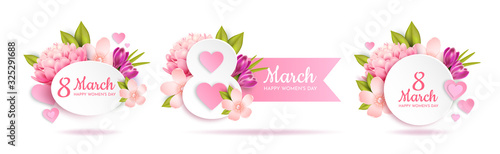 Obraz Set of greeting banners for March 8th(International Women's Day).   - fototapety do salonu