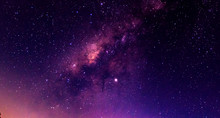 Amazing Panorama Blue Night Sky Milky Way And Star On Dark Background.Universe Filled With Stars, Nebula And Galaxy With Noise And Grain.Photo By Long Exposure And Select White Balance.selection Focus