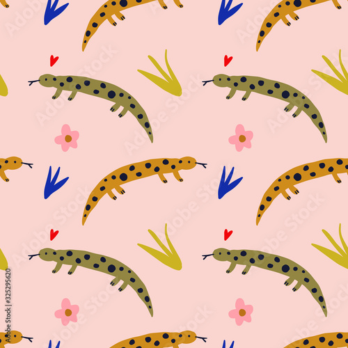 Cute salamander vector pattern, seamless design Canvas Print
