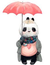 Cute Panda Bear With Umbrella