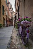 Fototapeta Uliczki - Flower bike in Finalborgo medieval village, Liguria region, Italy