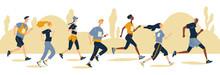 Group Of Running Men And Women...