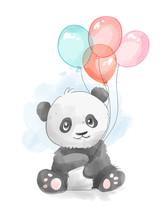 Cartoon Panda With Colorful Balloons Illustration
