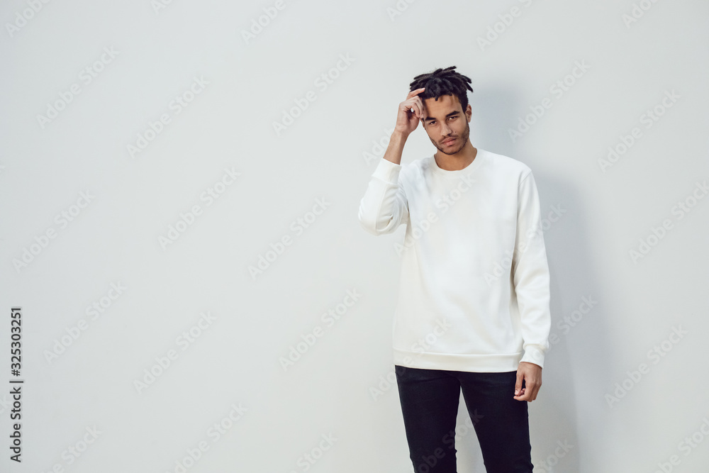 Fototapeta African american man wearing white blank sweatshirt. Mock-up.