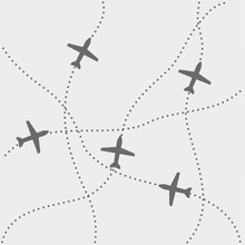 Airplane Routes Icon, Vector D...