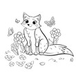 Coloring page outline of cute cartoon fox and butterflies. Vector image with forest background. Coloring book of forest wild animals for kids
