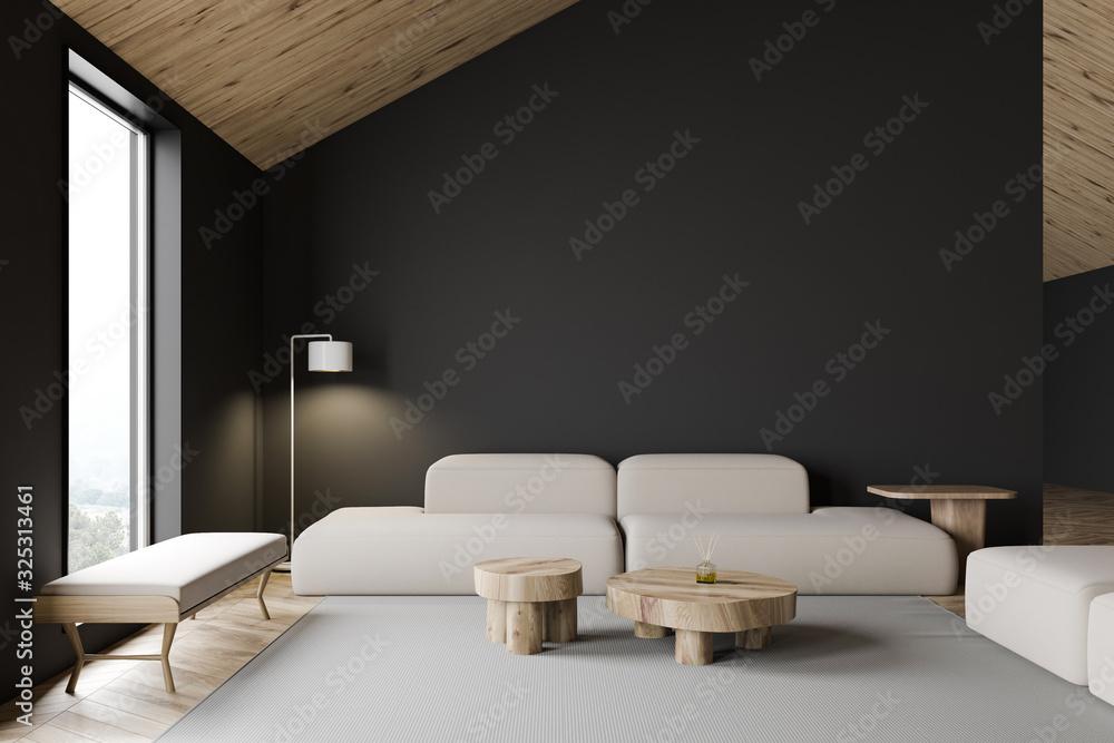 Fototapeta Grey attic living room interior with sofa