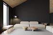 Leinwandbild Motiv Grey attic living room interior with sofa