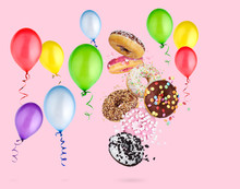 Donuts And Balloons On Pink Ba...