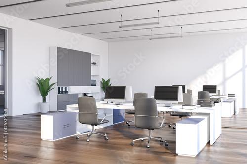 Fototapeta White open space office with bookcase obraz na płótnie