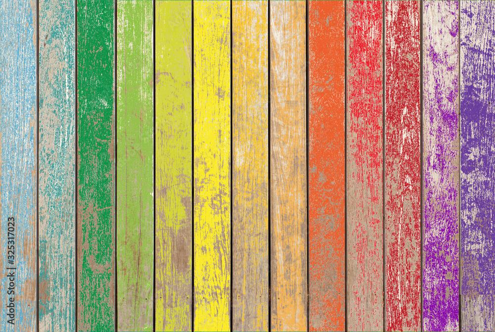Fototapeta Fond bois vintage aux couleurs de l'arc-en-ciel
