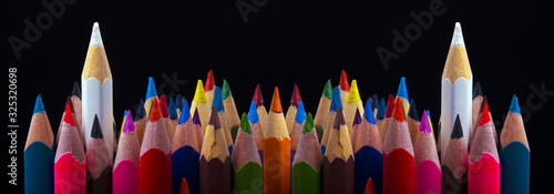 Photo Leadership concept, two white color outstanding than others colors, panoramic im