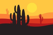 Beautiful Landscape Of Desert Landscape With Cactus Mountains, Abstract Desert Background Vector Illustration Template Suitable For Landing Page Banner Magazin Poster And Others