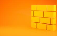 Yellow Bricks Icon Isolated On Orange Background. Minimalism Concept. 3d Illustration 3D Render