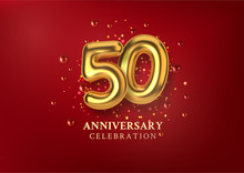 50th Anniversary Celebration. Number In The Form Of Golden Balloons. Realistic 3d Gold Numbers And Sparkling Confetti, Glitters. Horizontal Template For Birthday Or Wedding Event. Vector Illustration