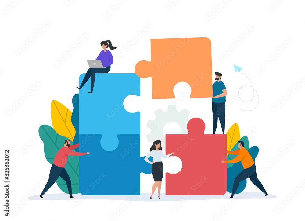 Fototapeta Teamwork concept with building puzzle. People working together with giant puzzle elements. Symbol of partnership and collaboration. Flat vector illustration isolated on white background.