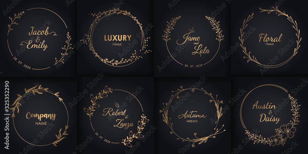 Fototapeta Wedding monograms and floral border, Design for invitations.