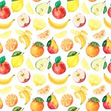 Watercolor Fruits Pattern, Hea...