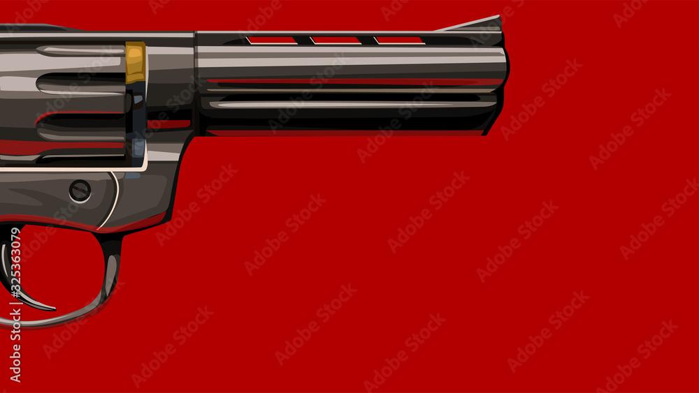 Fototapeta new classic revolver on red