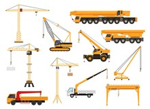 Set Of Construction Cranes In ...