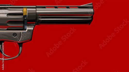 Fotografie, Obraz new classic revolver on red