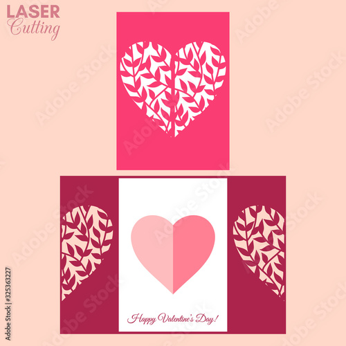 Fototapeta Laser cut template of gate fold card with leaves on the branches patterned heart for brochures, wedding invitations or Valentine's Day greeting card. obraz na płótnie