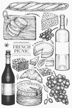 French Food Illustration Set. Hand Drawn Vector Picnic Meal Illustrations. Engraved Style Different Snack And Wine. Vintage Food Background.
