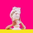 Leinwanddruck Bild - Statue on a pink background. Gypsum statue of Apollo head. Man. Creative. Plaster statue of Apollo head . Minimal concept art.