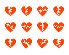 Red Cracked Hearts Flat Icons ...