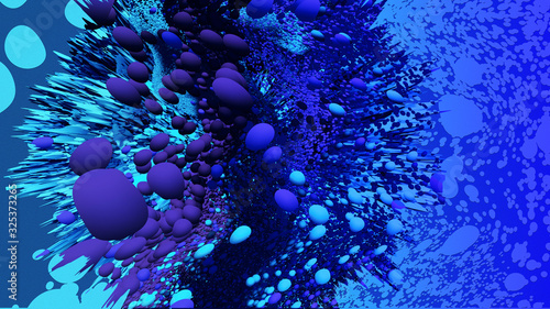Fototapeta Abstract underwater synthwave 3d illustration, blue and purple duotone with chro