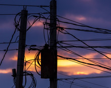 Electric Poles With Wires Agai...